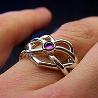 """Серебряное кольцо с Аметистом """"бесконечность сердца"""" от Wickerring"""