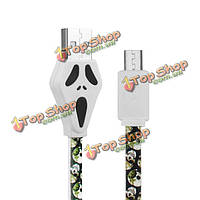 Youpin 100см 2.1a Halloween череп плоский стиль Micro-USB зарядка кабель даты для мобильного телефона