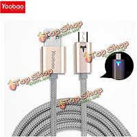 YooBao 1м 2.1A двусторонняя дыхание свет ткацкие микро зарядки дата кабель для мобильного телефона