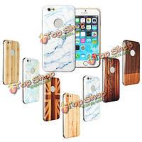 Набивным рисунком древесины металлический каркас жесткий чехол шт задняя крышка корпуса для Apple iPhone 6 Plus 5.5 дюйма