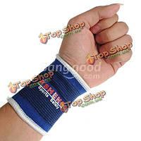 Спорт на открытом воздухе упругие запястье охранника дышащая бандажа 1 пара синий