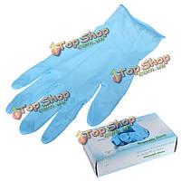 100шт синий нитрила одноразовые перчатки эластичной без латекса