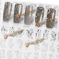 Серебряный цветок 3d ногтей наклейки искусства Acylic гель советы маникюр смешанная форма украшения этикеты поделки салон