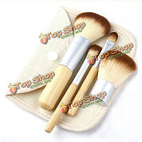 4шт бамбуковые ручки пудра румяна макияж кисти набор косметики