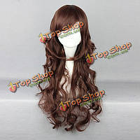 Коричневый удар стороны волнистые длинные волосы harajuku высокая температура высокой температуры дружественный синтетический парик коспле