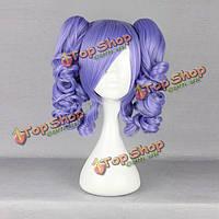 Фиолетовые связки волнистая harajuku высокая температура высокой температуры дружественный синтетический парик косплея костюма