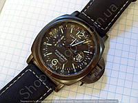Часы Panerai Luminor GMT Automatic B149 черные мужские с календарем на ремешке диаметр
