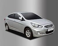 Ветровики, дефлекторы окон хромированные Hyundai Accent 2010- (Auto Clover) , фото 1