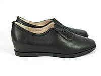 Женские туфли на танкетке черные , фото 1