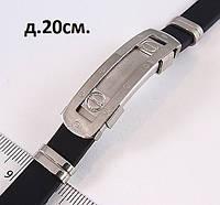Мужской браслет из каучука и металла серебристого цвета, фото 1