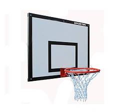 Щит баскетбольный с кольцом и сеткой 1200х900мм фанера ВВ0001