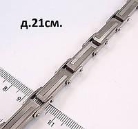 Мужской браслет со стальными звеньями серебро