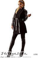 Женское черное пальто с кожаными рукавами
