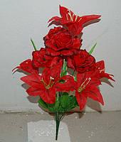 М-52 Букет роза + лилия 10 голов. Ткань простая, плотная.