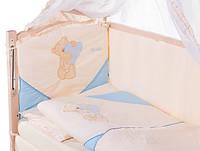 Детское постельное белье с аппликациями 8 элементов бежевое с голубыми вставками Ellit 60904