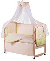 Детское постельное белье с аппликациями 8 элементов бежевое с салатовыми вставками Ellit 60919