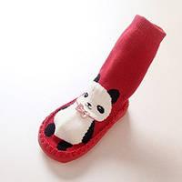 Носки - чешки махровые для детей Красные с пандой