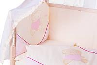 Детское постельное белье с аппликациями 8 элементов бежевое с розовыми вставками Ellit 60898