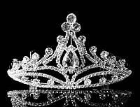 Диадема корона на металлическом обруче с гребешками на конце обруча, высота 6,5 см
