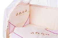 Детское постельное белье с аппликациями 8 элементов бежевое с розовыми вставками Ellit 60902