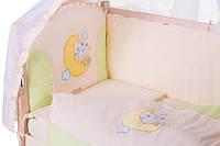 Детское постельное белье с аппликациями 8 элементов бежевое с салатовыми вставками Ellit 60804