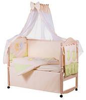 Детское постельное белье с аппликациями 8 элементов бежевое с салатовыми вставками Ellit 60810