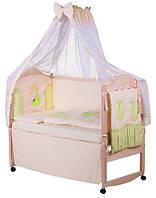 Детское постельное белье с аппликациями 8 элементов бежевое с салатовыми вставками Ellit 60918