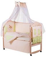 Детское постельное белье с аппликациями 8 элементов бежевое с салатовыми вставками Ellit 60812