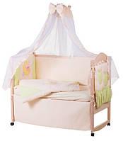 Детское постельное белье с аппликациями 8 элементов бежевое с салатовыми вставками Ellit 60895