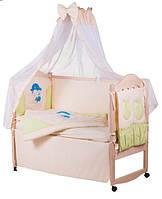 Детское постельное белье с аппликациями 8 элементов бежевое с салатовыми вставками Ellit 60897