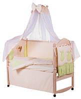 Детское постельное белье с аппликациями 8 элементов бежевое с салатовыми вставками Ellit 60807