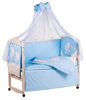 Детское постельное белье с аппликациями 8 элементов голубое с бежевыми вставками Ellit 60926