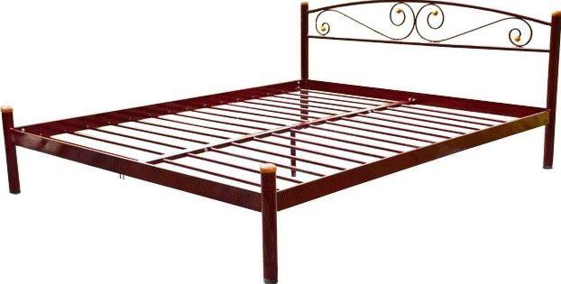 Кровать металлическая двуспальная Вероника (коричневый)