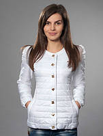 Модная утепленная женская куртка белого цвета
