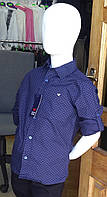 Рубашка для мальчика фиолетового цвета в точку 7-12 лет Турция
