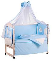 Детское постельное белье с аппликациями 8 элементов голубое с бежевыми вставками Ellit 60925