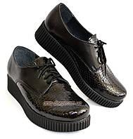 Женские туфли на утолщенной подошве, на шнуровке, натуральная кожа и лак питон., фото 1