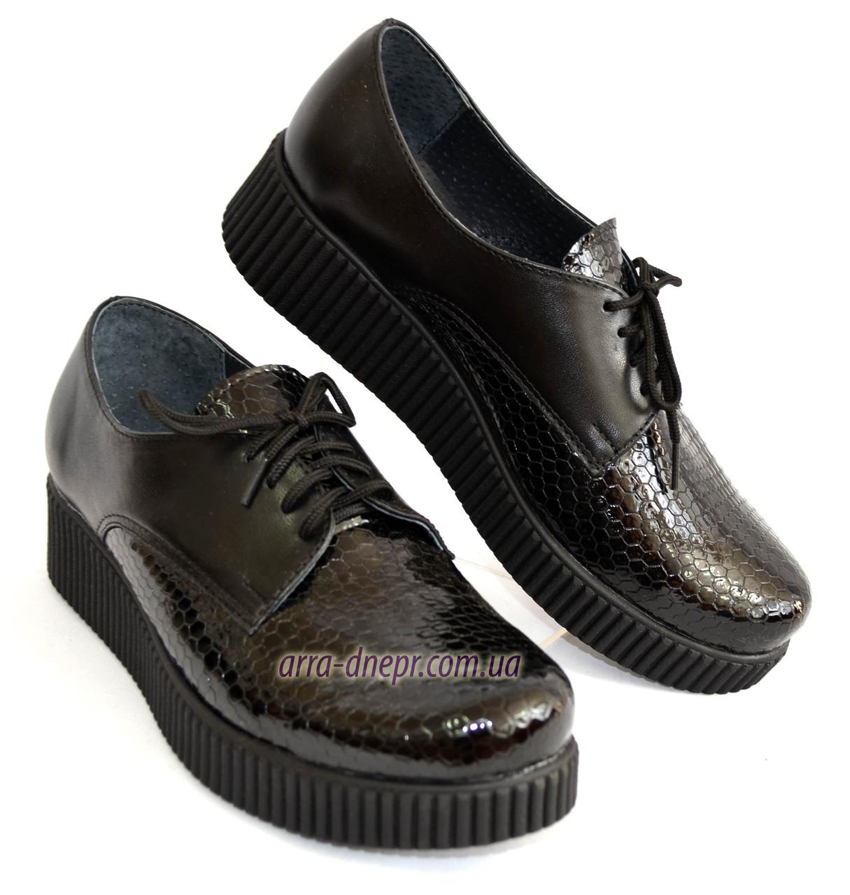 Женские туфли на утолщенной подошве, на шнуровке, натуральная кожа и лак питон.