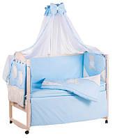 Детское постельное белье с аппликациями 8 элементов голубое с бежевыми вставками Ellit 60929