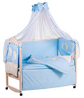 Детское постельное белье с аппликациями 8 элементов голубое с бежевыми вставками Ellit 60923