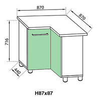 Секция 87x87 Сандра нижний угловой модуль фисташка (Світ Меблів ТМ)