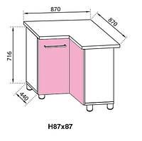 Секция 87x87 Сандра нижний угловой модуль розовый (Світ Меблів ТМ)