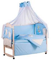Детское постельное белье с аппликациями 8 элементов голубое с бежевыми вставками Ellit 60922