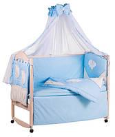 Детское постельное белье с аппликациями 8 элементов голубое с бежевыми вставками Ellit 60928