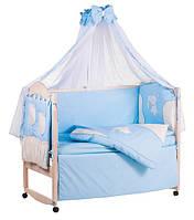 Детское постельное белье с аппликациями 8 элементов голубое с бежевыми вставками Ellit 60920