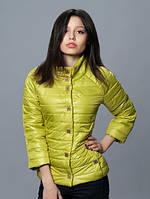 Модная женская куртка с рукавом 3/4 оливкового цвета