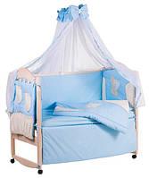 Детское постельное белье с аппликациями 8 элементов голубое с бежевыми вставками Ellit 60924