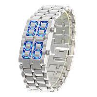 Часы-браслет Iron Samurai, Айрон Самурай серебристый с синими светодиодами