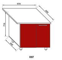 Секция Н 97 Сандра нижний угловой модуль красный (Світ Меблів ТМ)