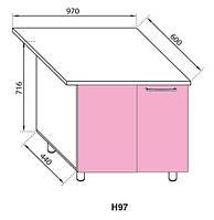 Секция Н 97 Сандра нижний угловой модуль розовый (Світ Меблів ТМ)